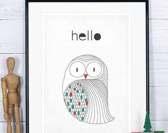 Scandinavian poster, owl art print, Scandinavian style wall decor, vintage art print, minimalist art print, Scandinavian design retro poster