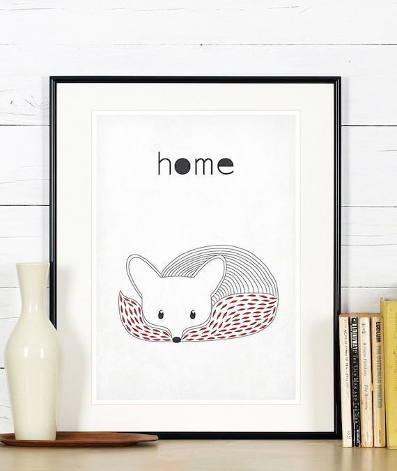 items similar to retro poster fox vixen forest animals scandinavian style simple line for. Black Bedroom Furniture Sets. Home Design Ideas