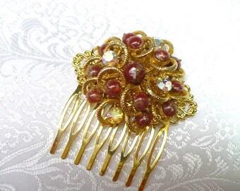 Vintage Bridal Hair Comb - goldtone - Aurora Borealis - vintage WEDDING - brown amber stones - vintage BRIDESMAID - bridal hair piece