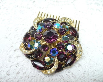 Vintage Bridal or Formal Hair Comb - gold tone - PURPLE RHINESTONE - Aurora Borealis - Clear rhinestone - Heirloom - WEDDING-Keepsake Bridal