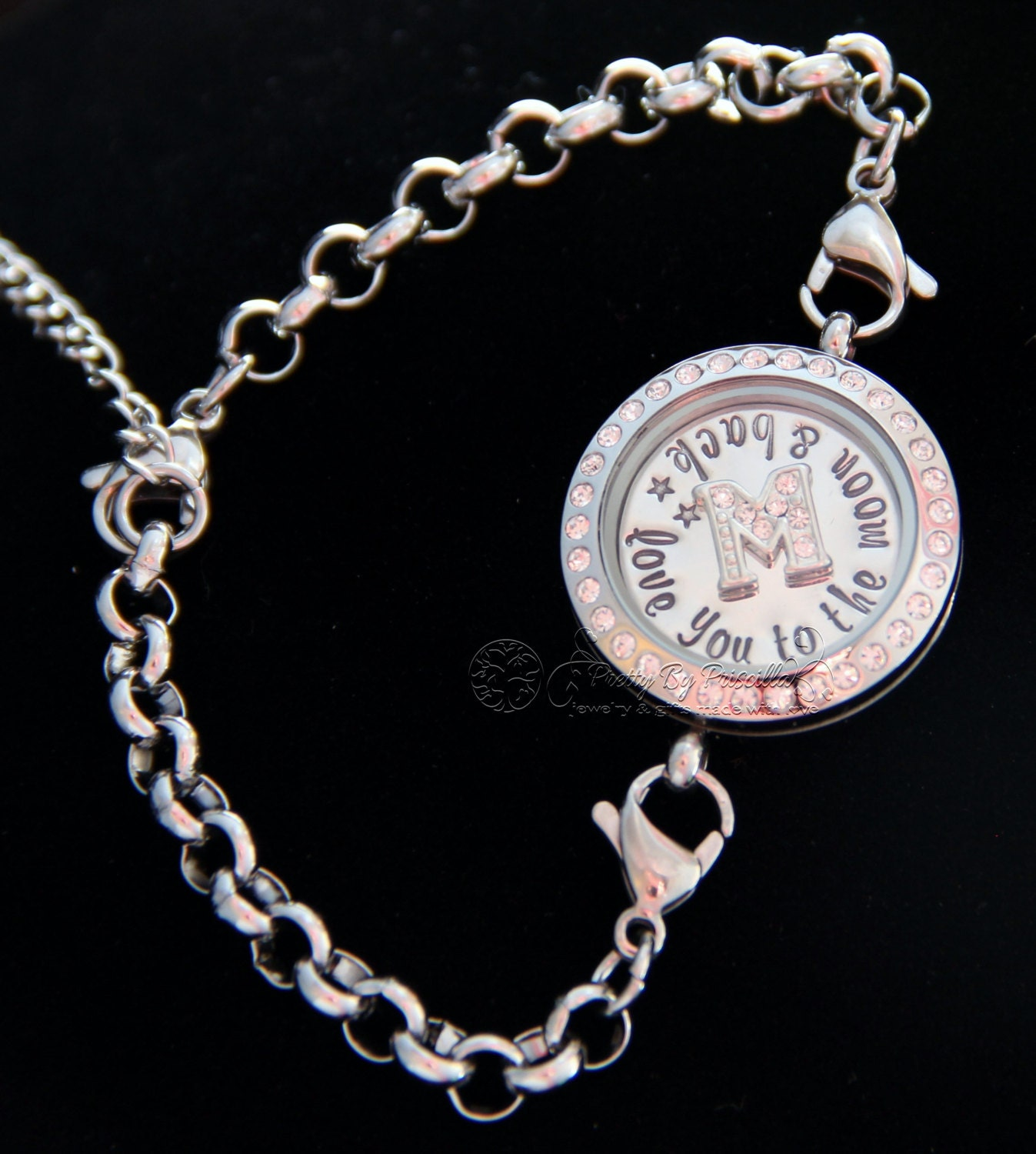 you to the moon and back floating locket bracelet w