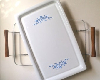 Vintage Retro Corning Ware Broil Bake Tray Platter with Holder