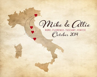 Map of Italy, Customized for Honeymoon, Anniversary, Travel, Birth, Engagement, Personalized Wedding Gift for Couples, Italian, Rome