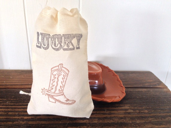 Lucky Wedding Gifts: Lucky Cowboy Boot Western Muslin Favor Bag Party Rustic