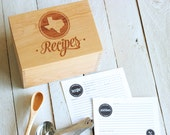 Heirloom Recipe Box and Cards - Wooden Custom Personalized State Recipes Engraved Recipe Card Holder With Recipe Cards