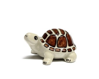 Miniature Animals Ceramic White Turtle Figurine Hand painted