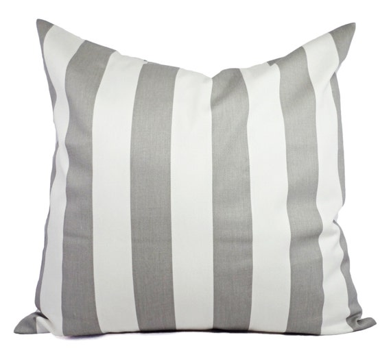 Throw Pillows On Grey Couch : Two Grey and White Striped Couch Pillows Decorative Throw