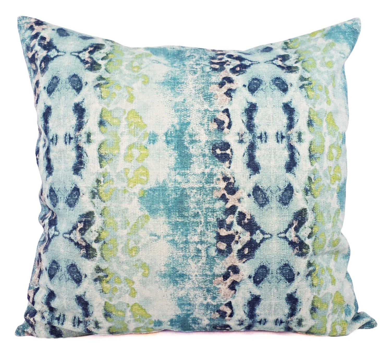 Throw Pillow Covers Two Blue and Green Ikat by CastawayCoveDecor