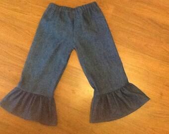Denim ruffle pants toddler 6M to 10Y