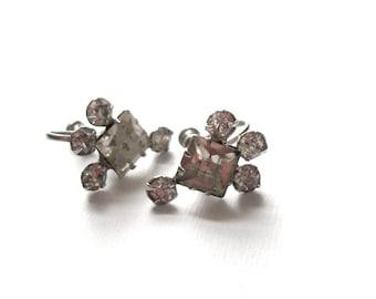 Vintage Glam Earrings Beautiful Vintage Rhinestone Sparkling Screwback Silver Tone Earrings Classic Beautiful Vintage Earrings Set
