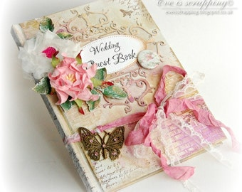CUSTOM Luxury Handmade Pink and Gold WEDDING Guest Book Butterfly Vintage Shabby Chic style with personalisation