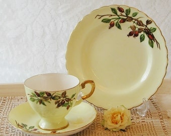 Vintage Tuscan Tea cup, saucer and side plate in pale Yellow with Red Cherry design. TT060.