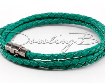 Green Braided Genuine Leather Triple Wrap Bracelet