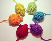 Crochet cat toy mice - Sets of 3, 6, 9, and 12