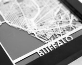 "Buffalo New York Stainless Steel Laser Cut Map - 5x7"" Framed | Wall Art"