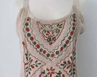 Vintage, Boho, Embroidered Front, Hippie Dress, With Tie Back Sash