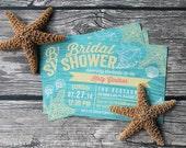Seashells Beach Bridal Shower Invitations - Printed Bridal Shower Invitations - Printable Bridal Shower Invitations - Nautical Bridal Shower