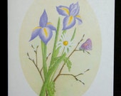 Purple Iris with Daisy and Butterfly Watercolor Painting Notecard