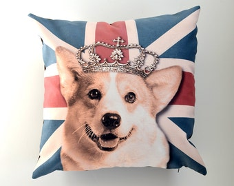 Royal Corgi cushion cover with english flag - corgi with crown pillow- England flag pillow- Royal corgi cushion- Corgi decor-  Dog pillow