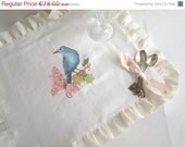ON SALE Handpainted Linen Placemat - Painted bird Placemat, ready to ship