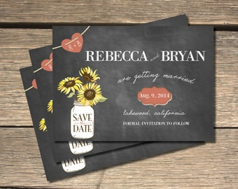 Sunflower Chalkboard Save-the-Date - 5x7