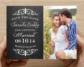 Chalkboard Photo Save the Date - 5x7 Card - 4x6 Postcard - Digital File