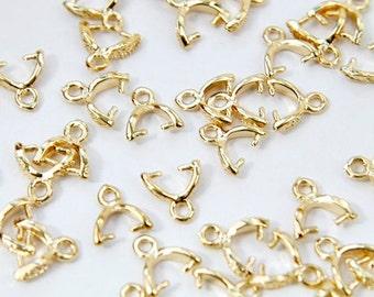 Mini bail, J35-G3, 10 pcs, 8mm, Pendant bail, 16K gold plated brass, Not easily tarnish, PZ08-03