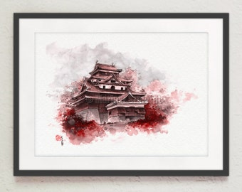 Watercolor fine art, japanese castle painting, black brown red giclee art print, japanese ink painting, castle painting, japan castle art