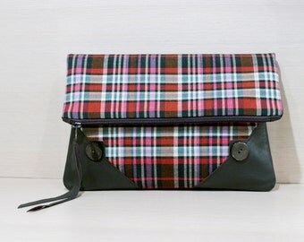 Plaid Fold Over Clutch Purse with Real Leather Corners