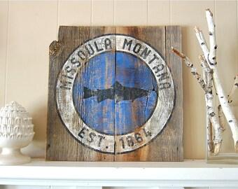 Montana Barnwood Art, Montana Fly Fishing, Missoula Montana, Salvaged Wood Art, Reclaimed Wood, A River Runs Through It, Fishing Art