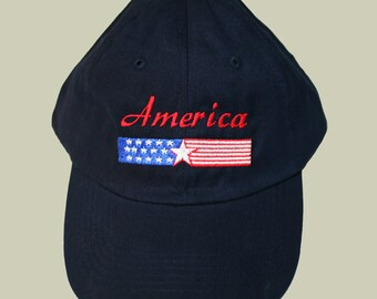 America Banner Black Baseball Cap