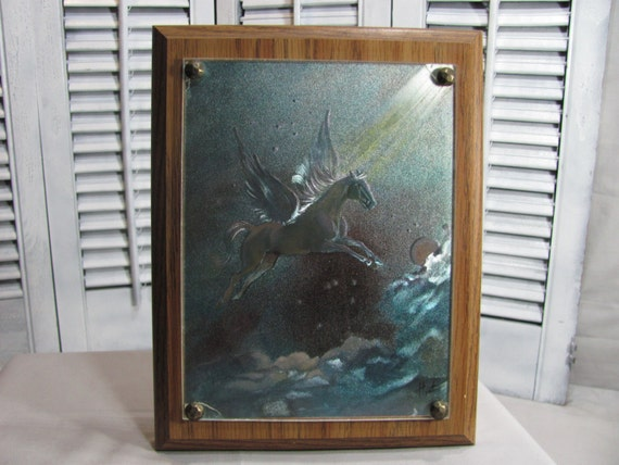 Flying Pegasus Wood Framed Wall Plaque Metallic Vintage 1980's Fantasy Art by Hyat Horse Lover Gift Idea Home Decor Modern Rustic