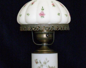 Vintage, Hand-Painted, 3-Way Hurricane Lamp