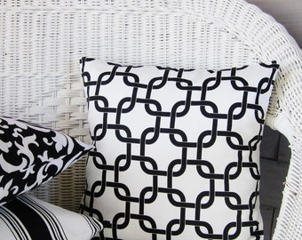 black white pillow cover geometric throw decorative toss accent 16x16 ready to ship