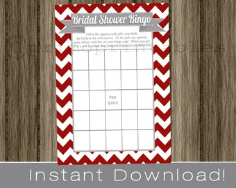BRIDAL Shower Bingo Game Cards / red and gray /  chevron /  INSTANT DOWNLOAD / diy digital printable file / print your own / wedding shower