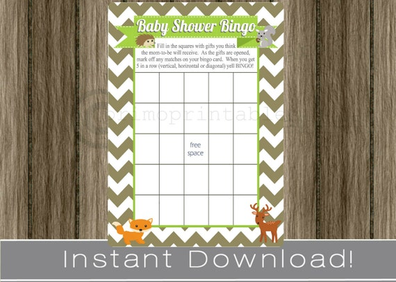 baby shower bingo game cards woodland animals / boy / brown, Baby shower invitations
