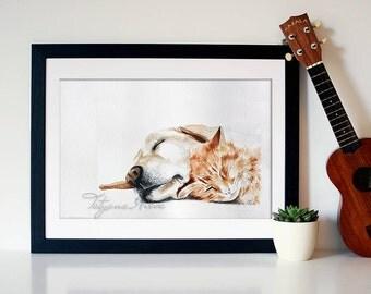 "Watercolor Print - ""Joy"". A dog and a cat, friends."