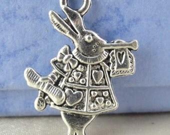 25pcs Antique Silver Alice in Wonderland Rabbit Charms 15x20mm SWA303-3