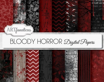 "Halloween digital papers ""BLOODY HORROR"" Bloody Grunge Textures, skulls, bloody wood, gothic, chevron, dictionary, birds, bloody wall"