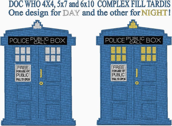 Doc Who Tardis Embroidery Designs Both 4x4 5x7 And 6x10