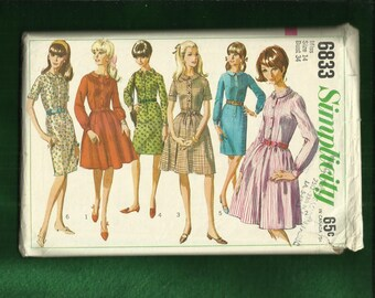 Vintage 1966 Simplicity 6833 Shirtwaist Dress with Front Button Band Small Round Collar & Full or Straight Skirt  Size 14