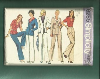 Vintage 1974  Simplicity 6285 Retro 70's Sportswear Wardrobe with Double Breasted Jacket Top & Pants Size 10