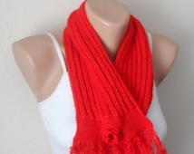 red knit scarf winter scarf red circle scarf knit shawls handmade scarf woman scarf fashion gift for her