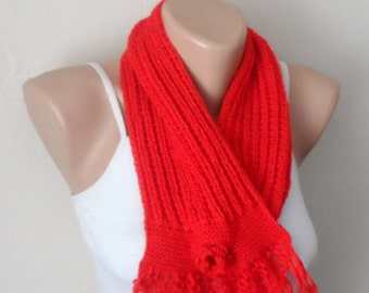 red knit scarf winter scarf red knit shawls handmade scarf woman scarf fashion gift for her