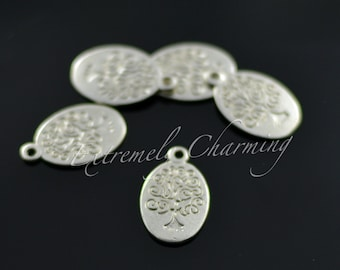 146pcs - Oval Tree of Life Charms - Antique Silver - CLOSEOUT