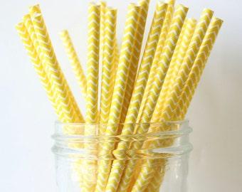 Yellow Chevron Straws, Yellow Paper Straws 25, Yellow Wedding Decor, Yellow Straw, Rustic Wedding, Party Straws, Wedding Bar Straws