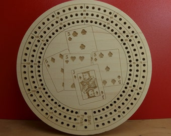 Cribbage board with the Perfect Hand laser engraved on the front.