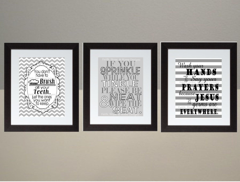 chevron bathroom set. Black Gray Chevron bathroom Wall Art Print Set Poster 8x10 Digital Download  Printable e