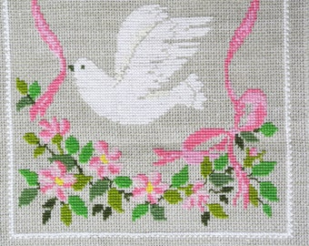 Very well done vintage 1980s unused handmade beige aida linen cross-stitch PIECE ON EARTH dove motive embroidery wall-hanging