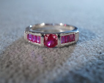 Vintage Sterling Silver 6 Square Round Ruby Fancy Wedding Band Ring, Size 8